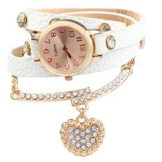 Vintage Watch Leopard Leather Wrap Bracelet Heart Pendant RhineCOFFEE (Intl)