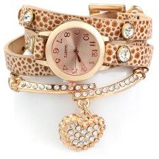 Vintage Watch Leopard Leather Wrap Bracelet Heart Pendant RhineORANGE (Intl)