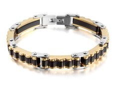 """Vnox Jewelry Mens Fashion Stainless Steel Bicycle Gear Link Bracelet Bangle, Black Gold Silver, 8.6"""" (Intl)"""