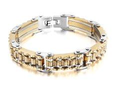 "Vnox Jewelry Mens Fashion Stainless Steel Bicycle Gear Link Bracelet Gear Bangle, Gold Silver, 8.7"" (Intl)"