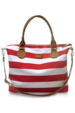 VONA Carriole (Merah Putih) - Tas Wanita Selempang Sling Bag Shoulder Handbag Kanvas Garis Strip