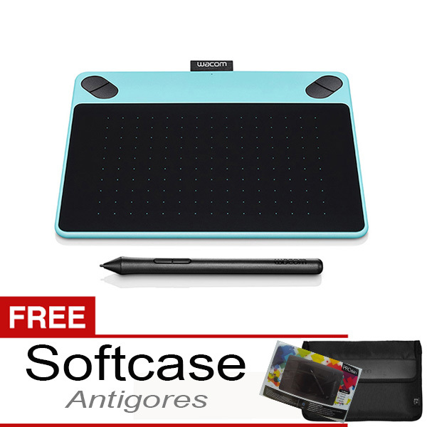 Wacom Intuos Art CTH-490 Pen & Touch Small Mint Blue + Gratis Softcase & Antigores