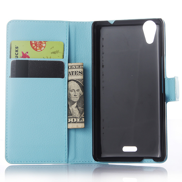 Wallet Flip Leather Case With Card Bag Holder For Wiko Rainbow UP Blue (Intl)