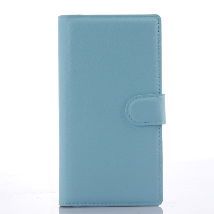 Wallet Flip Leather Case With Card Bag Holder For Wiko Ridge 4G Blue (Intl)