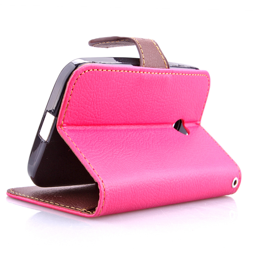 Wallet Flip Leather Case With Card Slot Holder For Moto E Pink (Intl)