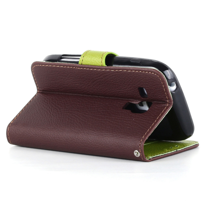 Wallet Flip Leather Case With Card Slot Holder For Samsung Galaxy S3 mini i8190 (Brown) (Intl)