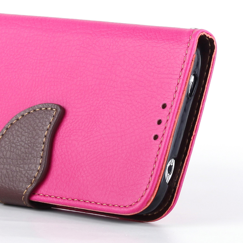 Wallet Flip Leather Case With Card Slot Holder for Samsung Galaxy S5 (Pink) (Intl)