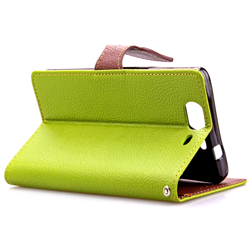 Wallet Flip Leather Case With Card Slot Holder For Wiko Highway 4G Green (Intl)