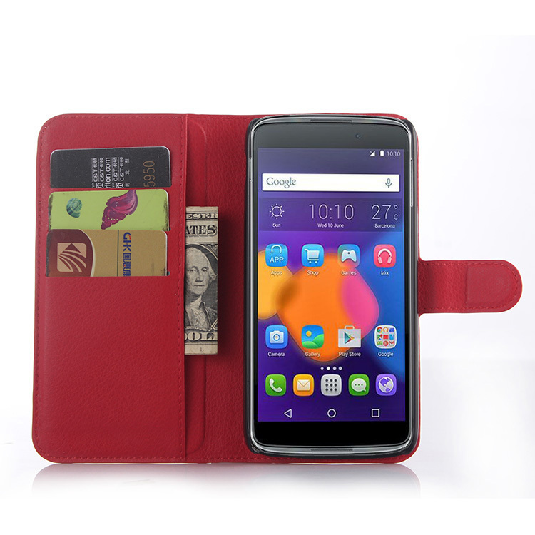 Wallet Flip Leather Cover with Card Bag Holder for Alcatel Idol 3 5.5 inch (Red) (Intl)