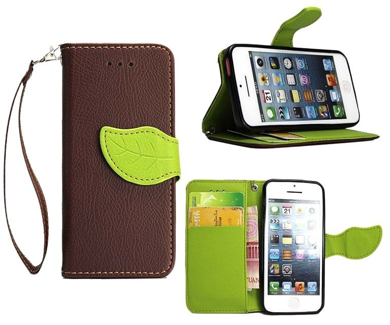 Wallet Flip Leather Cover with Card Slot Holder for Apple iPhone 5C (Brown) (Intl)
