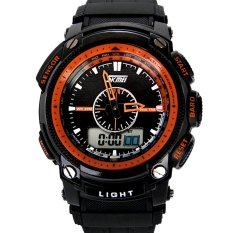 Waterproof Mens Sport Watches With Compass Rubber 24 Hour Quartz Digital Led Military Watches Multifunction Backlight Round Military Men Wristwatches Orange (Intl)