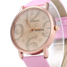 Wecin Men Women Quartz Watch Big Number Scales Leather BandPINK--TC