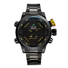 WEIDE 2309 Stainless Steel LED Quartz Men's Watch With LED Time Display And Black Steel Band (Yellow)