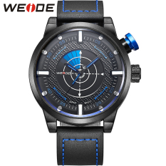 WEIDE Arrival Fashion Quartz Casual Watch Mens Leather Wrist Strap Analog With Flash Display 3ATM Waterproof (Blue)
