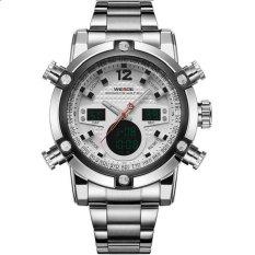 WEIDE Men's Double Time LCD Digital Analog Waterproof Silver Stainless Steel Sports Watch (Intl)