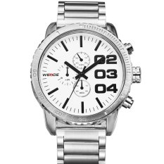 WEIDE WH-3310 Men's Fashion Stainless Steel Band 3ATM Waterproof Quartz Watch - (White)