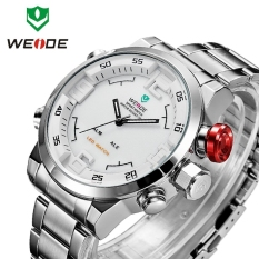 WEIDE WH2309B Military Sports Quartz Watch Double Movts Analog Digital LED Dual Time Display Alarm Wristwatch for Men (WHITE ) (Intl)