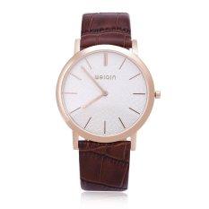 WEIQIN W2242 Men Quartz Watch Artificial Sapphire Glass Mirror Ultra-thin Dial Leather Band Wristwatch - Intl