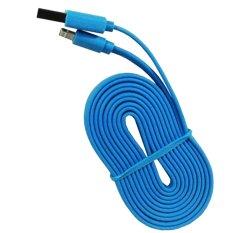 Wellcomm Kabel Data Charger Flat 1.5 Meter Untuk Iphone 5 High Performance Quality - Biru