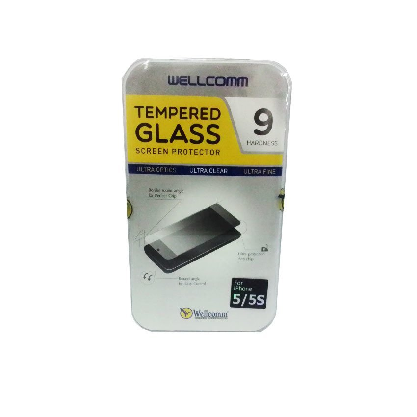 Wellcomm Tempered Glass Screen Protector 9 Hardness For iPhone SE / 5S / 5 - Transparent