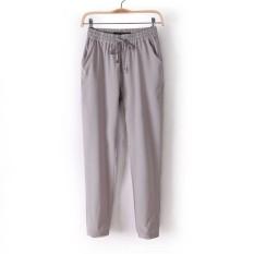 Western Style 2016 Summer Hot Sale Chiffon Pants Women Casual HaremPants Drawstring Elastic Trousers Gray (Intl)