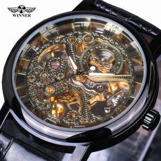 Winner Casual Fashion Men's Watches Men Luxury Brand Skeleton Dial Leather Strap Mechanical Watch Vintage Reloj Dress Masculino