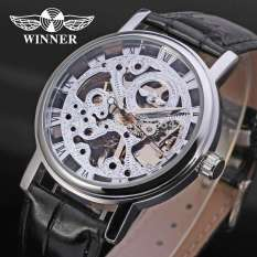 Winner Men's Watch Mechanical Hand-wind Leather Strap Fashion Casual Analog Crystal Wristwatch Color Sliver - Intl