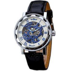 WINNER Skeleton Mechanical Hand Wind Classic Men Leather Strap Watch Blue WW184