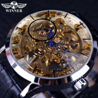 Winner Transparent Blue Hands Skeleton Golden Dial Wristwatch Mens Top Brand Luxury Fashion Casual Mechanical Watch - Intl
