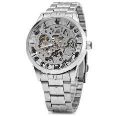 Winner W034 Automatic Mechanical Movement Hollow Out Men Watch Stainless Steel Band (SILVER)