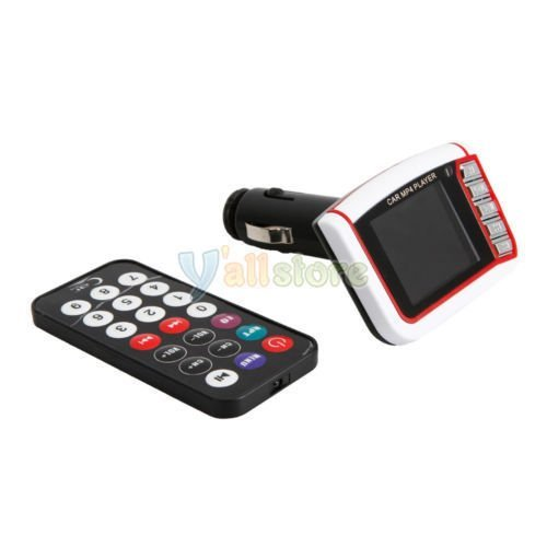 Wireless 1.8'' LCD Car Kit MP3 MP4 Music Player FM Transmitter USB SD MMC Remote (White) (Intl)