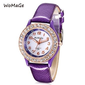 WOMAGE 744 Female Quartz Watch Artificial Diamond Dial Luminous Pointer Leather Band Wristwatch (PURPLE)