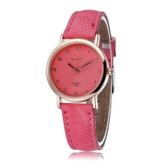 WOMAGE Blue Jeans Style Straps Women's Wrist Watch Alloy Case Analog Quartz Watches Pink