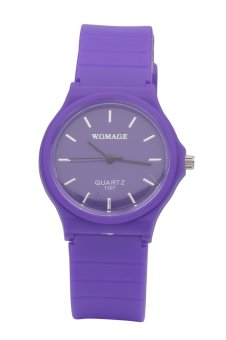 WOMAGE Candy Color Silicone Strap Quartz Watch-purple