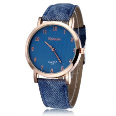 WOMAGE New Arrival Quartz Watch Women's Watch Fashion Casual Watch Leather Straps Wrist Watch-Drak Blue