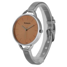 WoMaGe Thin Wire Reticularis Women's Silver Stainless Steel Strap Watch 994006 (Orange)