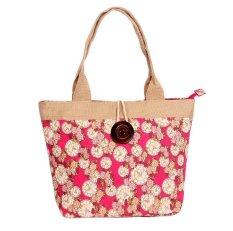Woman Fashion Canvas Button Handbag Red Clock Flower (YKFBB-45) - Intl