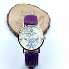 Women Aztec Tribal Pattern PU Leather Quartz Wrist Watches Watch Purple (Intl)