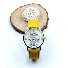 Women Aztec Tribal Pattern PU Leather Quartz Wrist Watches Watch Yellow (Intl)