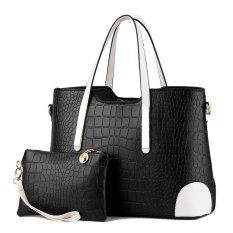 Women Bag Top-Handle Bags Fashion Women Messenger Bags Handbag Set PU Leather Bag Black Set - Intl