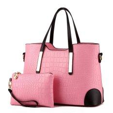 Women Bag Top-Handle Bags Fashion Women Messenger Bags Handbag Set PU Leather Bag Pink Set - Intl
