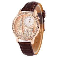 Women Elegant Set Auger Diamond Watch (Coffee)