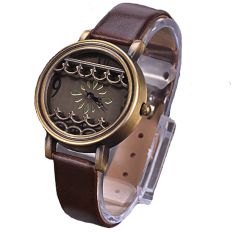 Women Hot New Synthetic Leather Dress Watches Fenestration Retro Style Lady Wrist Watches (Brown) - Intl