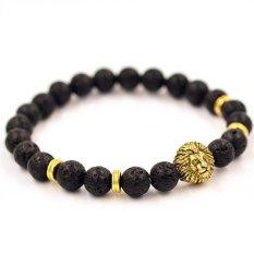 Women Men Bracelet Lion Elastic Beaded Bracelet Tibet Charm Bracelets Gold (Intl)