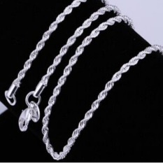 Women Men Fashion Exquisite 925 Sterling Silver Twisted Rope Link Chain Lobster Clasp Necklace Jewelry