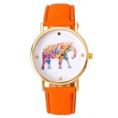 Women National Wind Elephant Casual Leather Strap Quartz Wrist Watch Orange