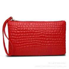 Women Portable Alligator Texture Wallet Zipper Clutch Bag Handbag Coin Purse Red
