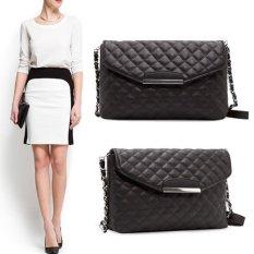 Women PU Leather Handbags Messenger Bags Quilted Plaid Shoulder Bags Black