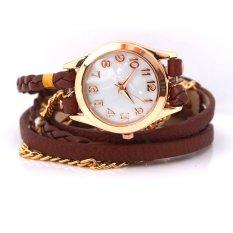 Women's Charm Chic Candy Vintage Weave Wrap Rivet Leather Bracelet Wrist Watch Brown - Intl