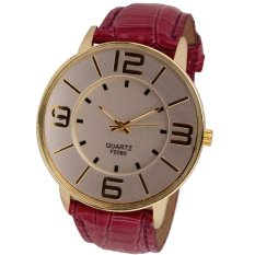 Womens Ladies Fashion Numerals Gold Dial Leather Analog Quartz Watch Red